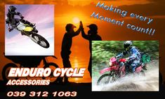 Make every moment count with Enduro Cycle.  Safety should always be your top priority when it comes to motorbikes. At Enduro Cycles we stock only top quality items for all genders and ages. From adult riding gear and accessories all the way to youth goggles and boots, make sure you are safe on your next motorbike ride.  Give us a call for any more information, or visit our website to view our full range of items.  Phone: 039 312 1063   Email: Info@EnduroCycles.co.za  www.Endurocycles.co.za… Motorbike Parts, Riding Gear, Brake Pads, All The Way, Helmets, Motorbikes, Count, Safety, Gloves