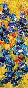 """""""Blue Mood II"""" Abstract Palette Knife Flower Oil Painting by Colorado Impressionist Judith Babcock"""