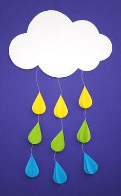 DIY: rainy day mobile by Белла Донна Kids Crafts, Toddler Crafts, Preschool Crafts, Craft Projects, Arts And Crafts, Paper Crafts, Diy Paper, Craft Ideas, Kids Diy