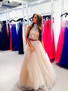 Two Piece Prom Dresses,Beaded 2 pieces Champagne Tulle Party Dresses,Keyhole Back Graduation Dresses,Beaded 2 pieces Tulle Prom Dresses,Beaded Occasion Dresses