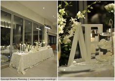 Wedding reception dessert table white and silver by Concept Events Planning | www.concept-events.gr