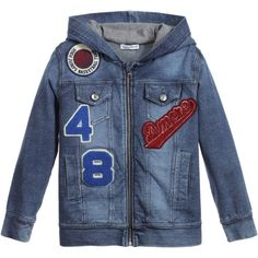 Boys washed blue jacket by Dolce & Gabbana made from a soft cotton denim. In a baseball style, it has embroidered baseball and sport patches on the front, with the slogan 'I've found my love in Sicily' and leather logo patch on the back. The hood is fully lined in a soft jersey and fastens with a front metal zip.<br /> <ul> <li>95% cotton, 5% elastane (soft, lightweight denim)</li> <li>Machine wash (30*C)</li> <li>Zip-up fastening</li> <li>Made in Italy</li> </ul>