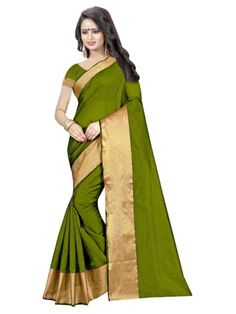 b9c782ef5708b Buy Green Plain cotton poly saree with blouse Online