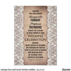 antique lace and rustic burlap wedding invitations