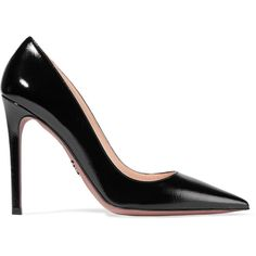 Prada Glossed textured-leather pumps (720 AUD) ❤ liked on Polyvore featuring shoes, pumps, heels, prada, sapatos, high heel stilettos, black pointy-toe pumps, stiletto pumps, black shoes and high heel shoes