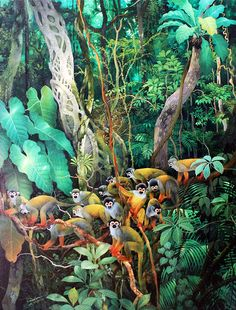 Cliquez pour fermer Jungle Scene, Jungle Art, Jungle Illustration, Tropical Art, Tropical Forest, Naive Art, Visionary Art, Mural Art, Chinoiserie