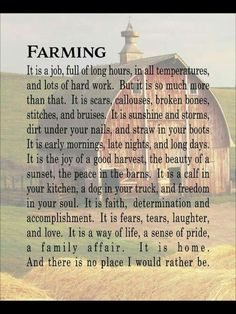 All the dedication to provide wholesome crops, only to see so much abuse in what it's used for and additives Farm Life Quotes, Farmer Quotes, Family Quotes, Farmer Poem, Farm Sayings, Cowboy Quotes, Horse Quotes, Quotes Quotes, Crush Quotes