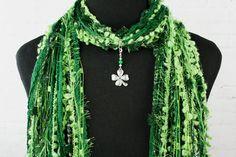 St. Patrick's Day Scarf Silver Shamrock by FiberArtAccents on Etsy