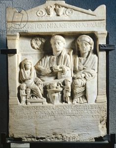 Relief depicting a scene of feasting, from Tomis, Romania. Roman Civilisation, 2nd Century. Bucharest, Muzeul National De Istorie Al Romaniei (Archaeological And Art Museum)