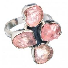 925 SOLID STERLING FINE SILVER ROUGH ROSE QUARTZ  RING