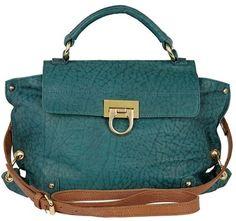 River Island Green circle lock leather satchel - Polyvore