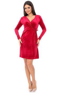 Rochie rosie petrecuta - DR2678 Dresses For Work, Casual, Fashion, Moda, Fashion Styles, Fashion Illustrations
