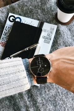 watch for him | details | GQ | chronograph | gift idea | inspiration | affordable luxury | boyfriend gift | Chrono All Black Woven by Kapten & Son | picture by blakescott