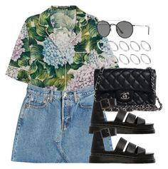 """Untitled #13107"" by vany-alvarado ❤ liked on Polyvore featuring Dolce&Gabbana, RE/DONE, Chanel, Dr. Martens, Ray-Ban and ASOS"