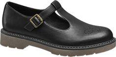 Graceland Ladies Chunky T-Bar Shoes Black | Deichmann