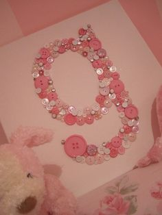 My Baby Love.....Little Girls room...Shabby Chic Pink Initial on 12 x 12 canvas. $29.99, via Etsy.