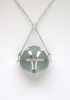 Sea Glass Jewelry - Sterling Ice Blue English Caged Sea Glass Necklace