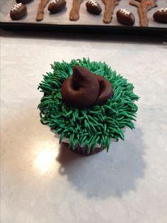 Dog poop cupcake