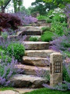 Herb Garden Kit, Diy Garden, Garden Paths, Garden Stairs, Garden Floor, Tuscan Garden, Vertical Garden Design, Sloped Garden, Small Gardens