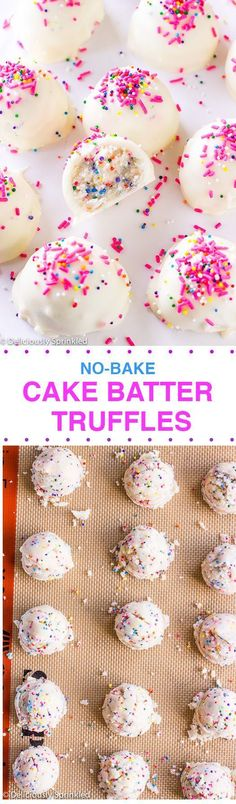 These no-bake cake batter #truffles are perfect for hot days when you want dessert without turning on the oven. Get the recipe from @delicisprinkled