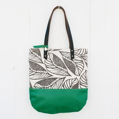 Image of Anna tote, leaf, gray / green