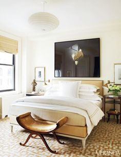 Get the Look:  A Refined Bedroom // Cream and gold bedroom with upholstered bed.