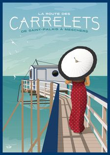 Affiche La Route des Carrelets Mickey House, Umbrella Decorations, Illustrations Vintage, Etiquette Vintage, Vintage Umbrella, Art Deco Illustration, Railway Posters, Art Deco Posters, Poster Pictures