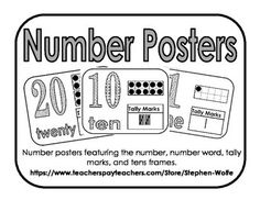 Number posters featuring the number, number word, tally marks, and tens frames for numbers 1-20