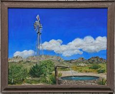 """The Windmill""  The Organ Mountains (New Mexico) in distance Acrylic on canvas, 24""x36"""