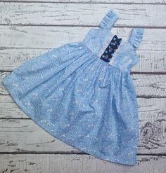 Girls Blue Dress Vintage Inspired Dress Girls by AvaandBash
