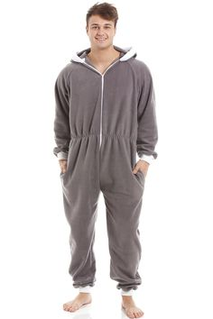 0140e6e45ddf6 Mens Grey Supersoft Fleece Zip Front Hooded Onesie. Camille Lingerie