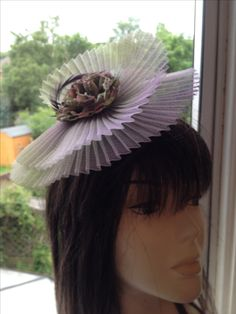 Fascinator by Denice Gregory Hand dyed pleated crin, handmade silk flower