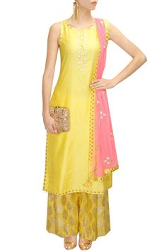 Yellow and neon pink gota patti work kurta set available only at Pernia's Pop-Up Shop.