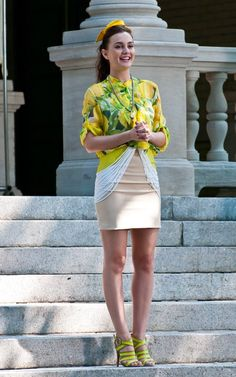Leighton Meester wearing Loeffler Randall Paige Mesh Crisscross Sandals, Carlos Miele Colorblock Skirt and Moschino Cheap & Chic Spring 2011 Lemon Printed Blous.