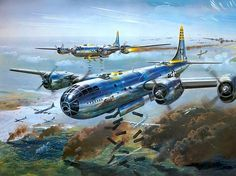 B-29 Superfortress - Airfix model kit art, Illustrated by Roy Cross