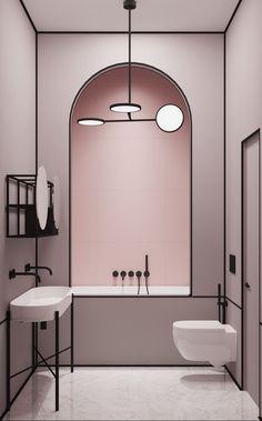 Parisian Apartment - pale pink bathroom