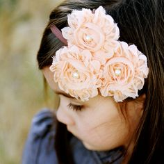 SOPHIA - Peach shabby rose trio headband. $14.00, via Etsy.  Have to learn how to make this style flower
