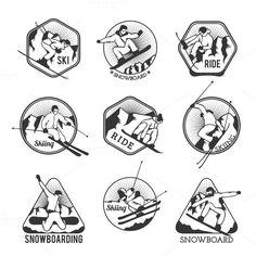 Ski resort logo emblems vector @photoshoplady
