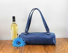 Blue Wine Bottle Bag, Wine  Bottle Tote, Insulated Tote, BYOB Bag, Vegan Leather Purse. Bridesmaids Gift or Hostess Gift. FREE SHIPPING - pinned by pin4etsy.com