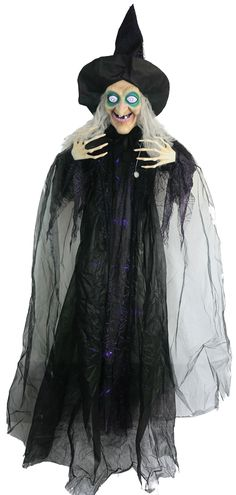 Gloriously charming HANGING WITCH ANIMATED 72IN. Exclusive selection of Witch & Wizard Hangings for Halloween at CostumePub. Toddler Witch Costumes, Halloween Costumes For Kids, Outdoor Halloween, Animated Halloween Props, Scary Halloween Decorations, Witch Nose, Sorceress Costume, Long Gray Hair, Long Black
