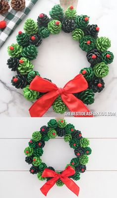 PINE CONE WREATH - such a beautiful and easy Christmas wreath! This easy DIY christmas pine cone wreath makes a great gift too! PINE CONE WREATH - such a beautiful and easy Christmas wreath! This easy DIY christmas pine cone wreath makes a great gift too! Kids Crafts, Christmas Crafts For Kids, Simple Christmas, Holiday Crafts, Beautiful Christmas, Pine Cone Crafts For Kids, Kids Diy, Summer Crafts, Fall Crafts