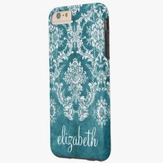 iPhone 6 Plus Cases | Turquoise Grungy Damask Pattern Custom Text Tough iPhone 6 Plus Case