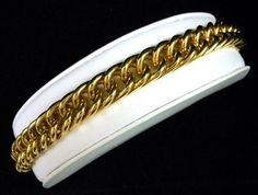 "Vintage Chunky Gold Plated Link Bracelet 7.5""L 46.3 Grams Very Nice! $44.00 SOLD"