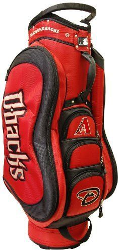 MLB Arizona Diamondbacks Medalist Cart Bag, Black by Team Golf. $149.99. Integrated top handle and 14-way full length dividers. 50% nylon/50% plastic. External putter well and 3 lift assist handles. Padded strap with strap pouch and fleece-lined valuables pouch. 8 location embroidery and 5 zippered pockets. Removable rain hood and umbrella holder and towel ring. This bag is loaded with features, including integrated top handle, 14-way full length dividers, 8 location embroider...