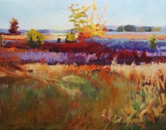 """Blueberry Plains in the Fall, oil on linen, 18"""" x 23"""" available at www.janetledoux.com"""
