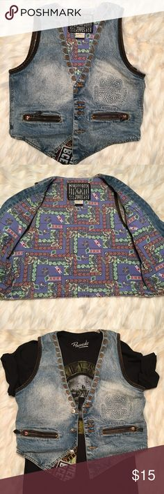 Vintage Denim Vest No Trades Tops