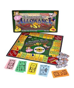 Managing my Allowance board game. Players use coins and bills to pay for purchases, compute change, handle allowances and gifts, decide what to buy, collect earnings and make deposits into a college savings account. Great tool for learning about money.