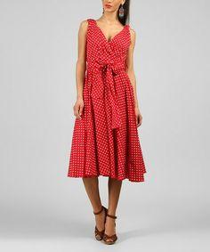 Loving this Red Polka Dot V-Neck Dress on #zulily!
