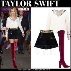 Taylor Swift in burgundy velvet boots, black shorts and white top