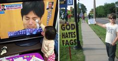 """16 Amazing Kids Who Will Instantly Restore Your Faith In Humanity - The little girl on the left is drying the tears of a Japanese politician, and the young man on the right is countering the signs by Westborough Baptist members holding signs saying """"God hates gays"""", with a sign of his own saying """"God hates no one."""""""
